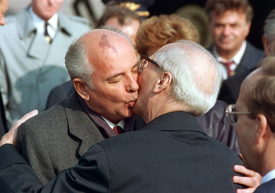 Erich Honecker and Mikhail Gorbachev