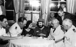 Fidel Castro aboard MS Berlin North German Lloyd cruise ship in Havana harbor, Cuba, 1959. Left to right: First officer Ernest Hankiewicz; captain's daughter Marita Lorenz; Castro; Capt. Heinrich Lorenz, chief enginer Karl Kase. (AP Photo) 1959